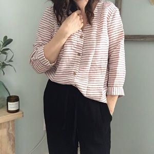 Artisan NY Linen Red and Cream Striped Shirt